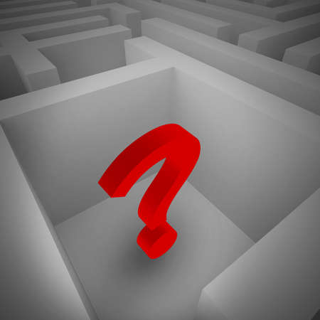 incertitude: Big red question mark in a labyrinth