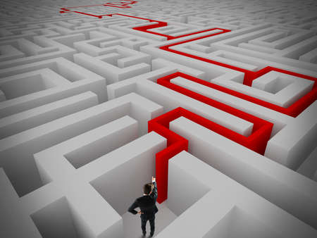 incertitude: Businessman find the exit of a maze Stock Photo