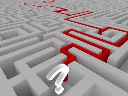 incertitude: White big question mark in a maze