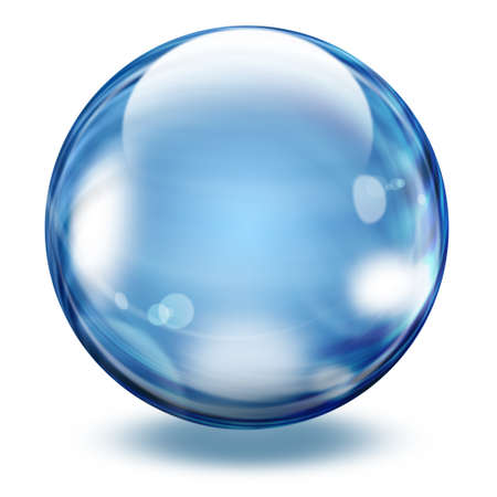 Realistic blue transparent glass sphere with light effect