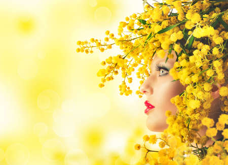 Nature beauty makeup and style with mimosa