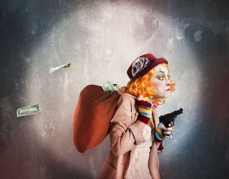trickster: Woman clown discovered while robbing much money