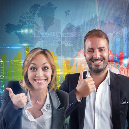 optimistic: Businesspeople optimistic for world success financial growth