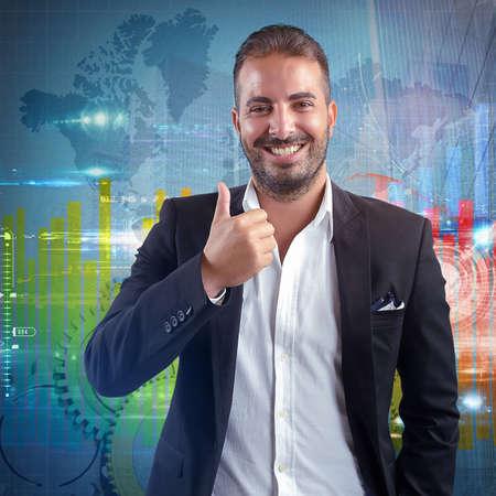optimistic: Businessman optimistic for world success financial growth Stock Photo