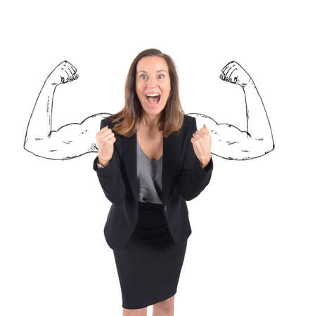 inner strength: Businesswoman comes to success with inner strength Stock Photo