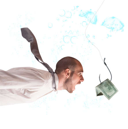 fishhook: Businessman takes the bait to the hook Stock Photo