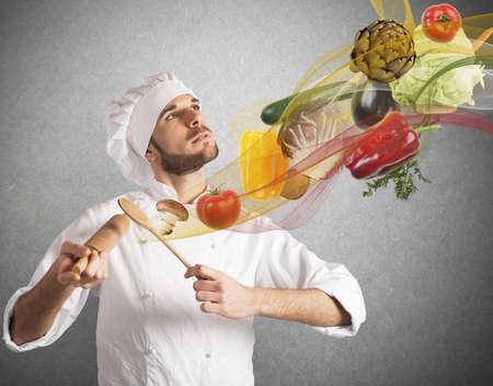 創造的なシェフが料理の調和を果たしています。