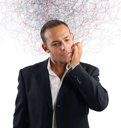 interrogative: Businessman stressed and confused about which investment do Stock Photo