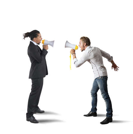 contrasts: Company employee contrasts his boss screaming stronger