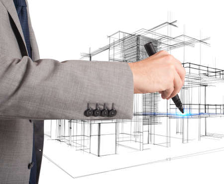 Architectural Drawing Architect Plans And Organizes New Residential Areas Stock Photo
