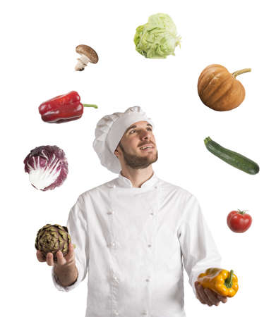 Chef plays with the vegetable as a juggler