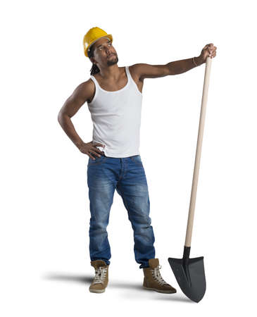 sexy construction worker: Sexy construction worker with hat and shovel