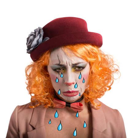ragazza depressa: Teatrale pagliaccio ragazza triste e depresso pianto Archivio Fotografico
