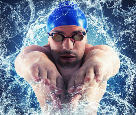 enters: Professional swimmer enters the water with splash