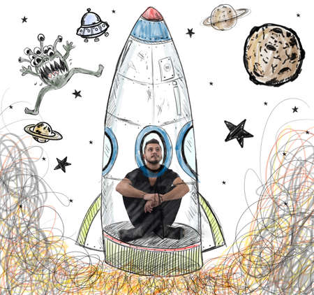 imagines: Man imagines himself to be an astronaut