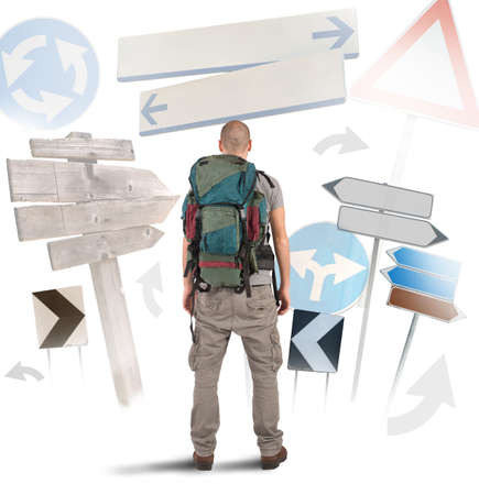 way go: Lost traveler undecided which way to go
