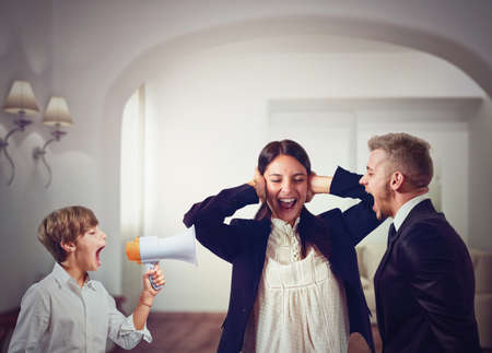 problematic: Quarrels and screams at home among family Stock Photo