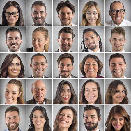 Collage of portrait of many smiling faces Foto de archivo