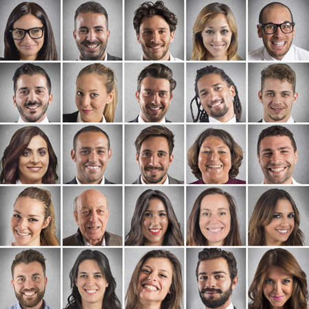 collage caras: Collage de retratos de muchas caras sonrientes Foto de archivo