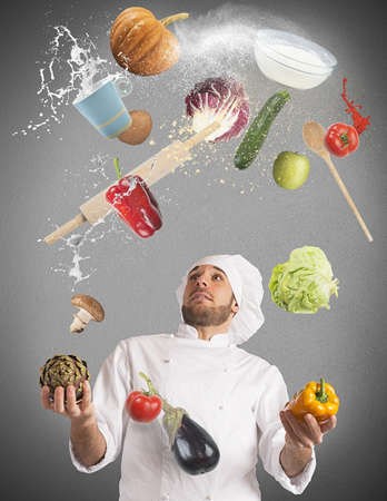 Playful chef likes to juggle while cooking