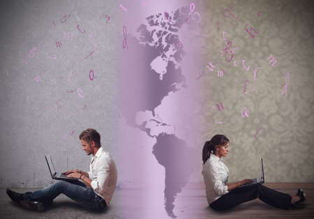Communicate in a distance relationship with internet