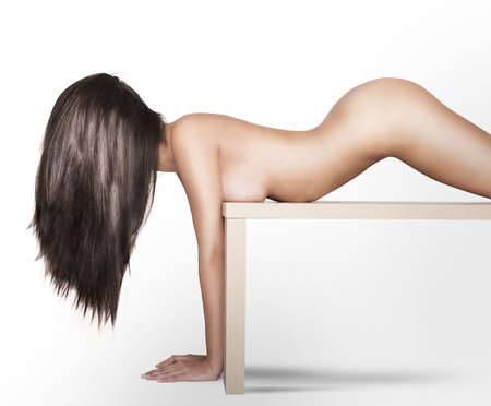 sexy nude girl: Nude woman model posing on a table