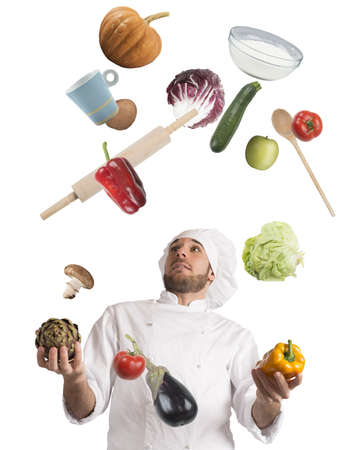 juggle: Playful chef likes to juggle while cooking