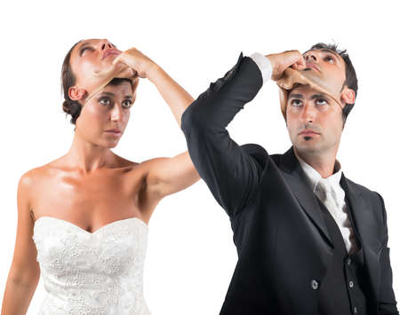insincerity: False marriage between two people not sincere Stock Photo