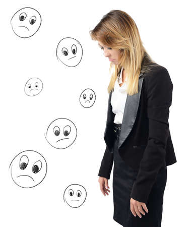irritate: Businesswoman depressed and discouraged by her work