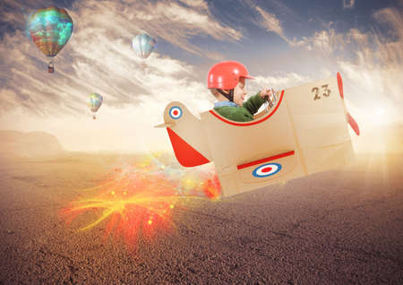 aviator: Child plays and imagine being an aviator