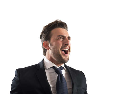 Business man pissed and furious at work Stock Photo