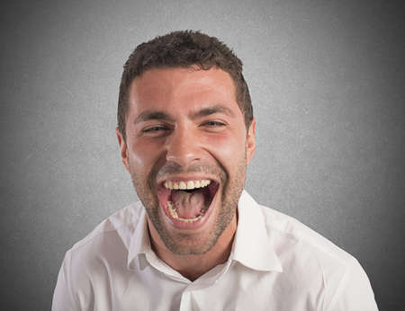 frustrate: Desperate businessman stressed out from work screams