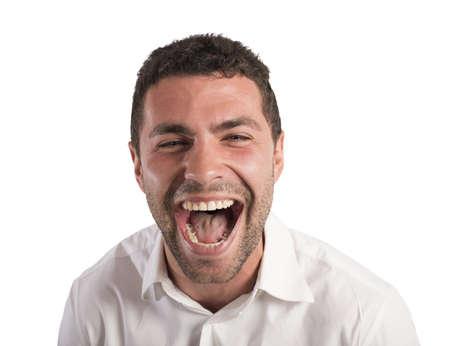 desperate: Hombre de negocios desesperado estresado de gritos de trabajo Foto de archivo