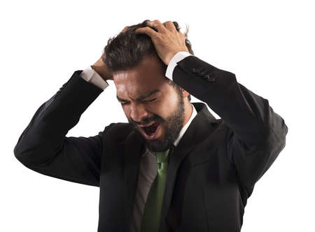 aggressive people: Confused businessman stressed out from work screams Stock Photo