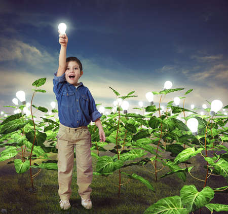 Baby with lightbulb in a ideas field