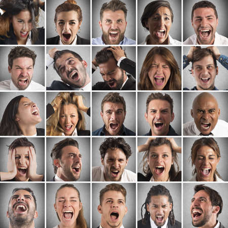 economic depression: Portraits collage of people faces who scream Stock Photo