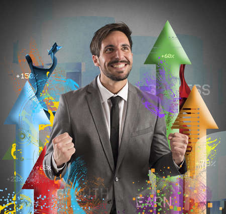 joyfulness: Happy businessman rejoices to his financial Success Stock Photo