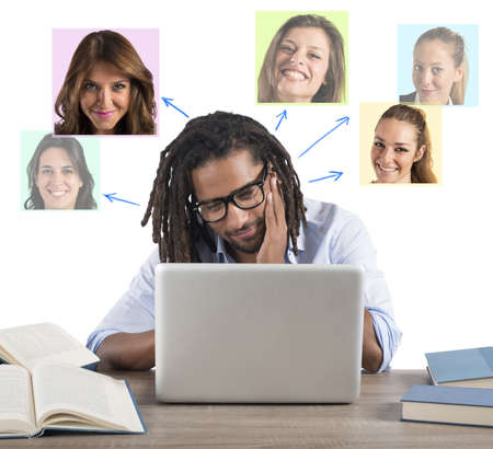 virtual community: Man chat with girls on social network