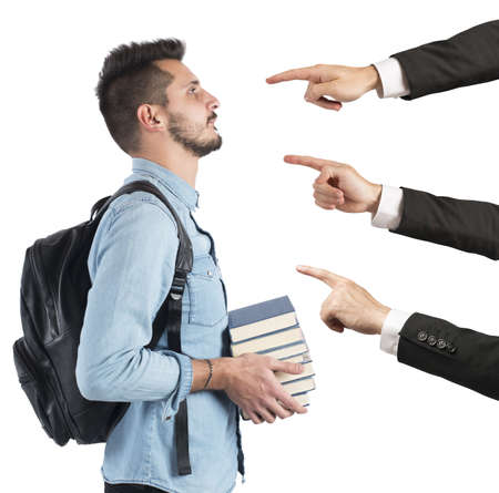 accusations: Student to university blamed unfairly by teachers Stock Photo