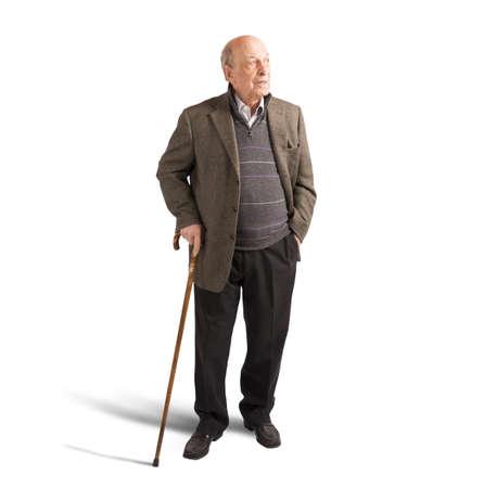 건강 노인 그의 지팡이와 함께 산책