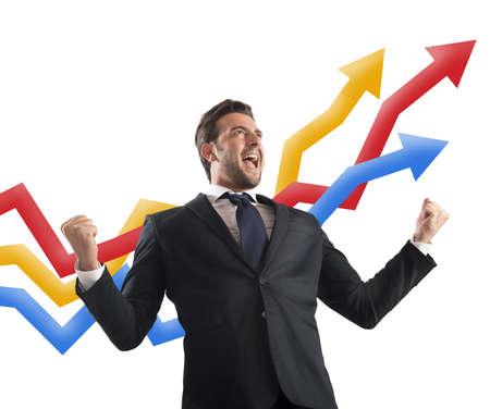 yells: Businessman yells to delight of economic triumph