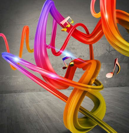 streak: Music background with colored streaks and notes Stock Photo