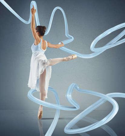 Elegant woman classical dancer dancing on tiptoe