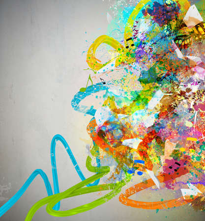 color stain: Music background with colorful sketches and notes Stock Photo