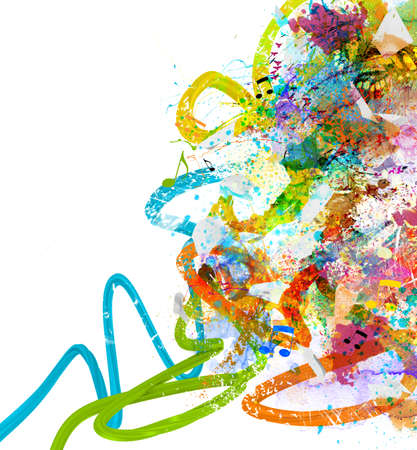 abstract paintings: Music background with colorful sketches and notes Stock Photo