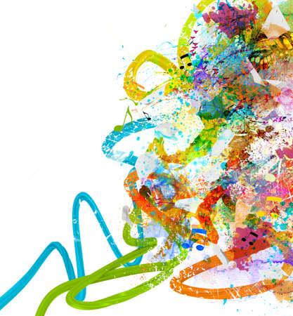 musik hintergrund: Musik-Hintergrund mit bunten Skizzen und Notizen