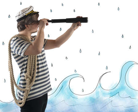 navigate: Sailor looks at the sea with the telescope
