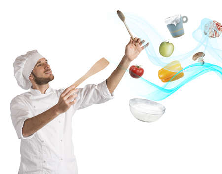 creates: Chef creates a musical harmony with food Stock Photo