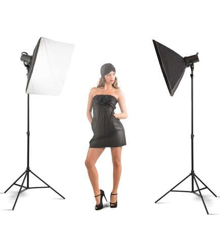 Girl model posing in a photo studio