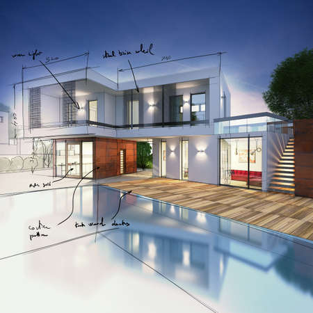modern residential building: Project for a villa with notes drawn Stock Photo